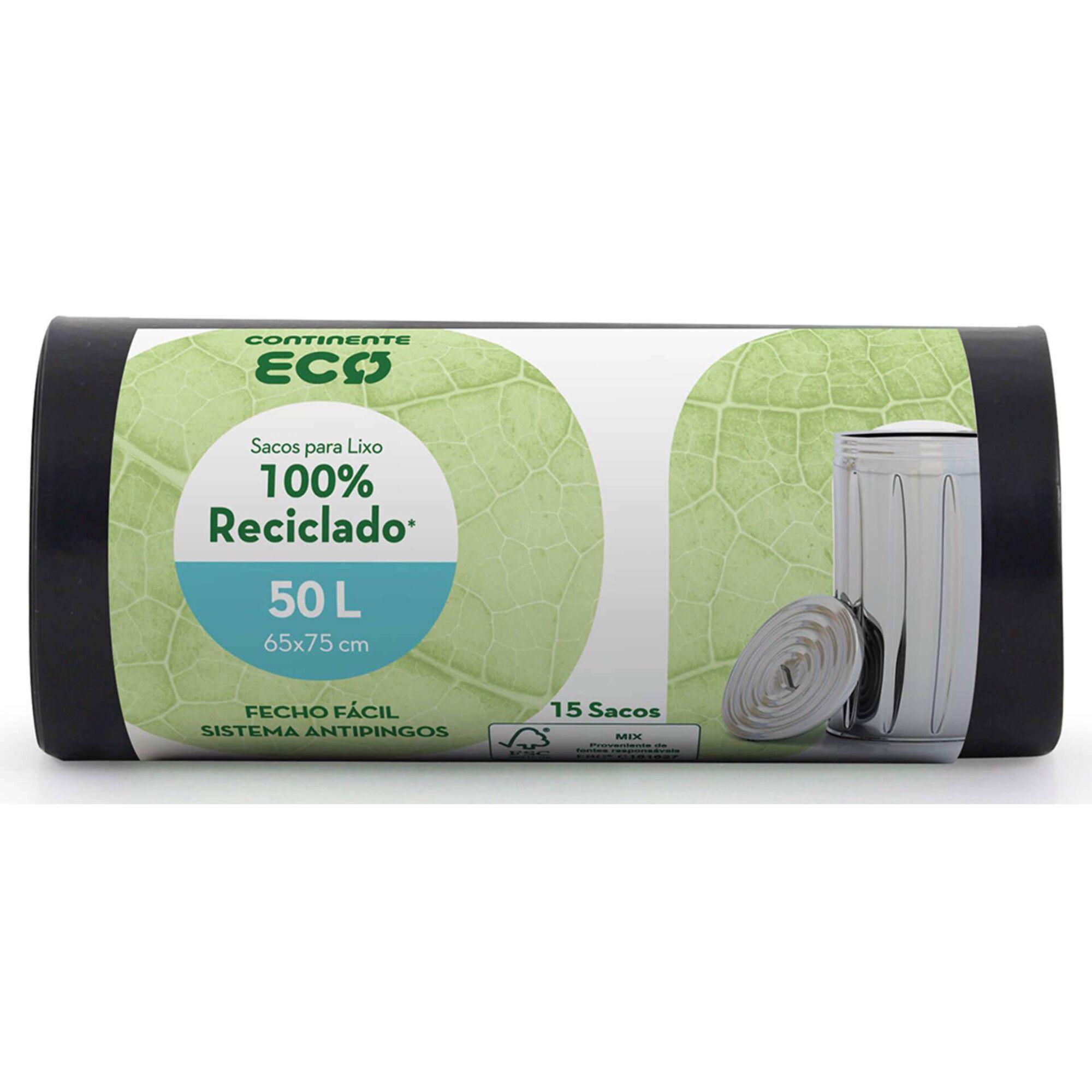 Sacos Lixo 100% Reciclado Fecho Fácil 50 lt