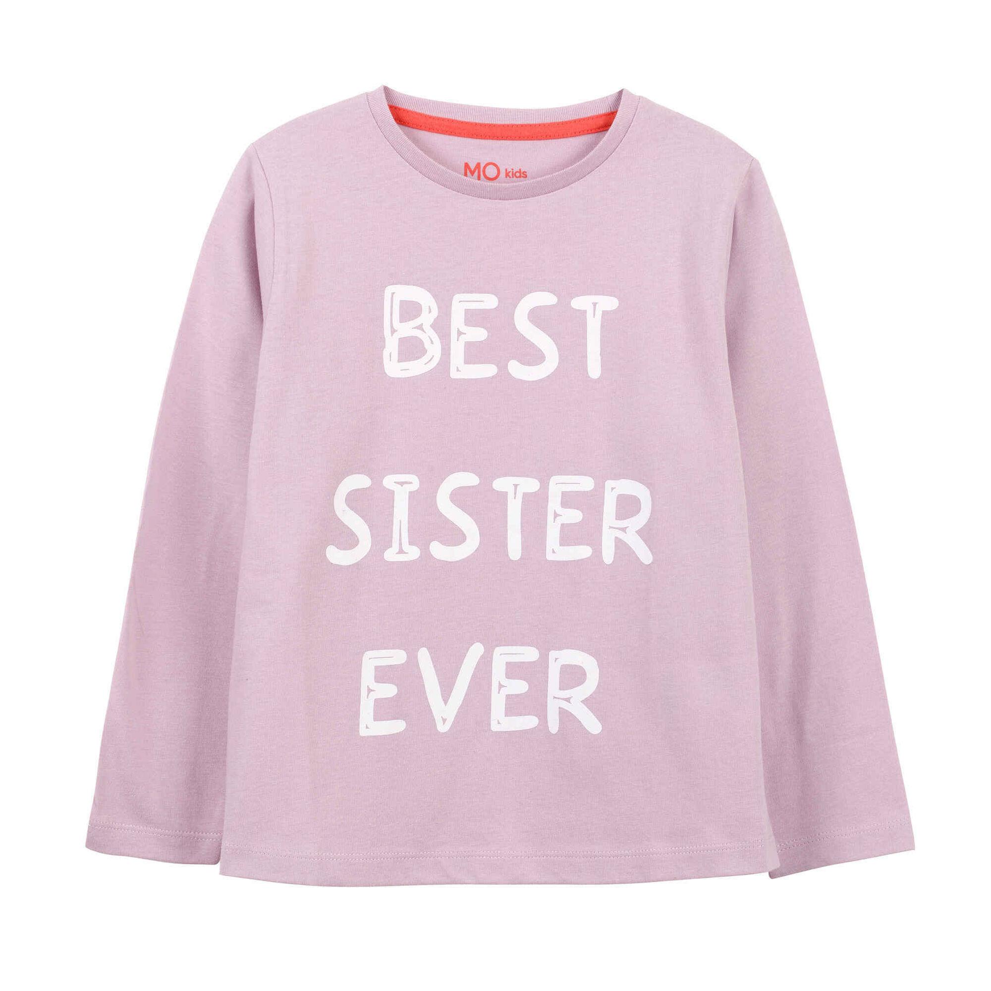 T-shirt Best Sister Manga Comprida Algodão Rosa