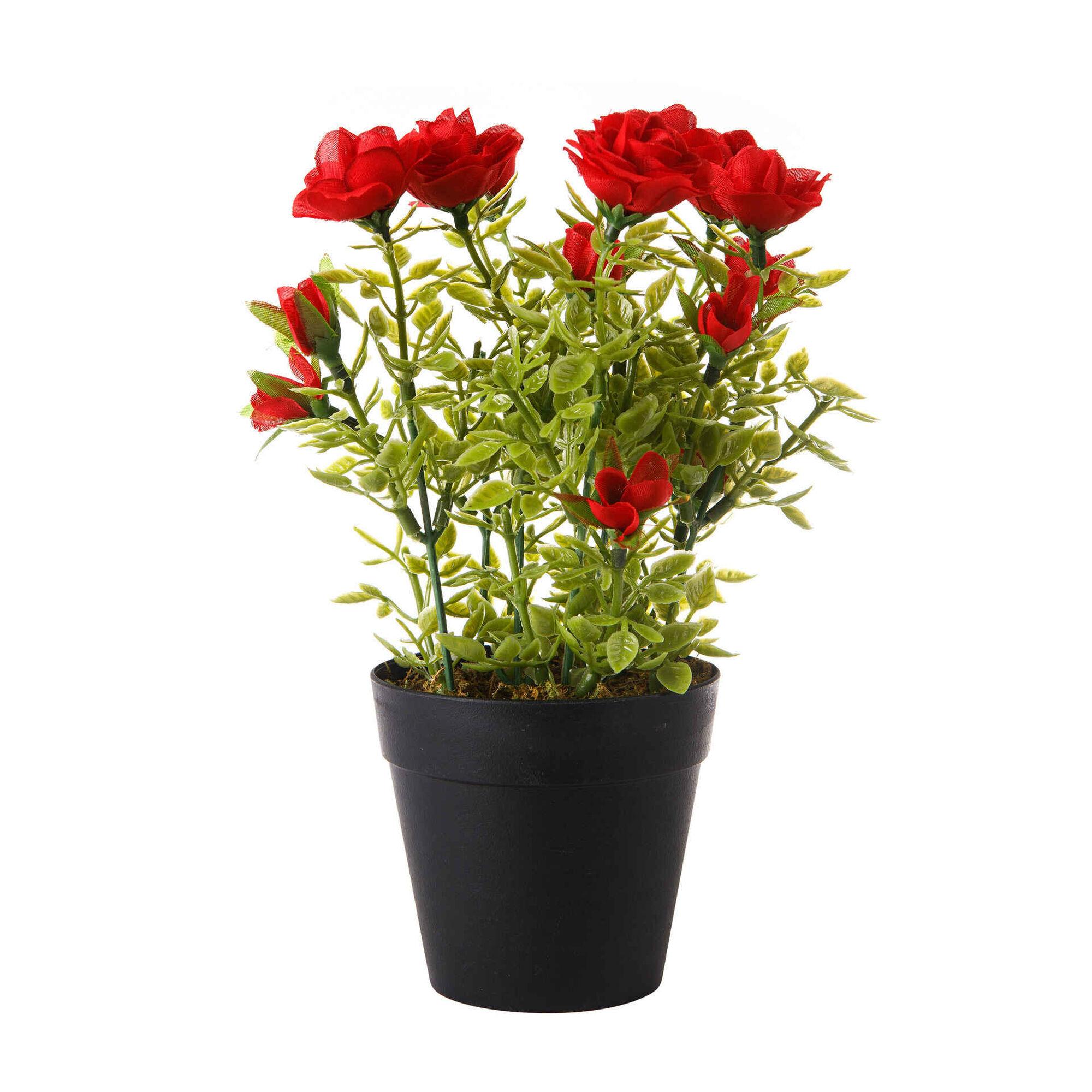 Planta Artificial Flores Vermelhas com Vaso Preto