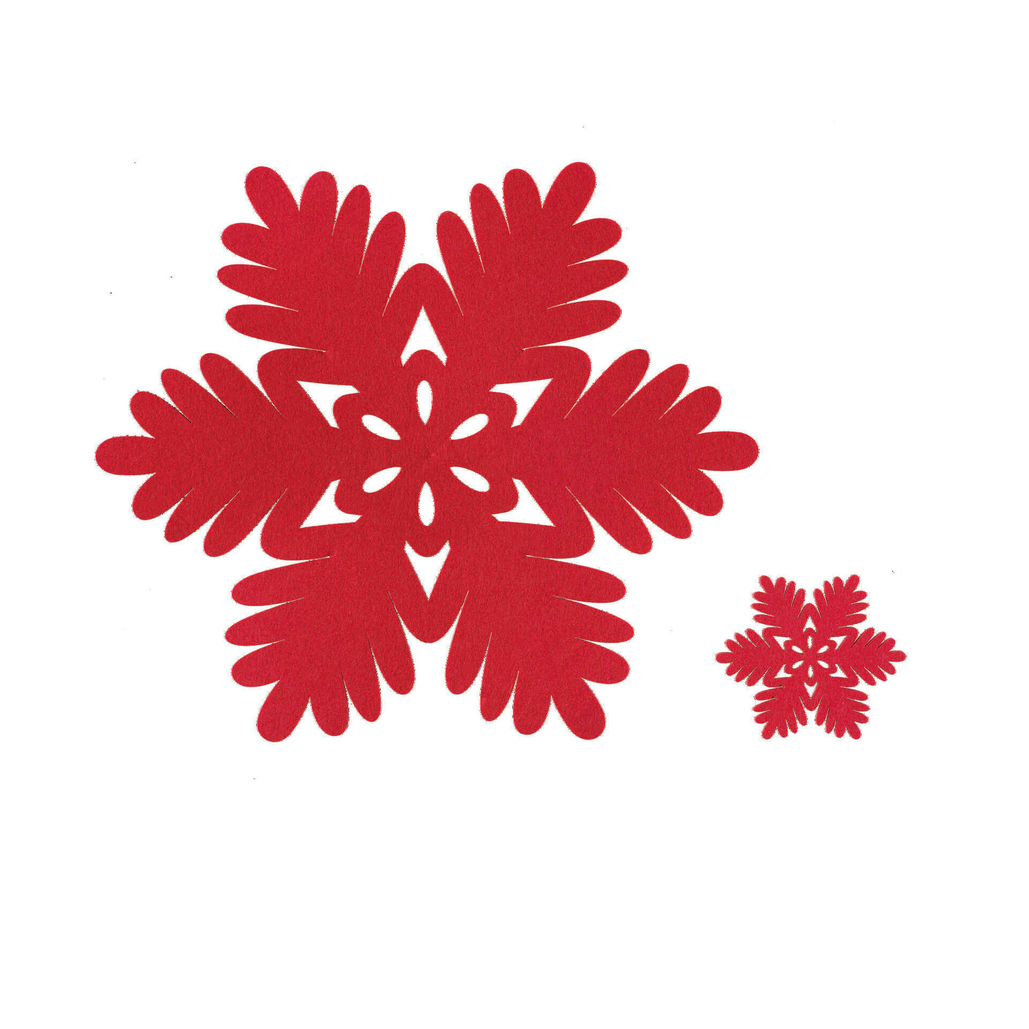 Conjunto 4 Individuais e 4 Bases Copos Feltro Flocos Neve Vermelhos