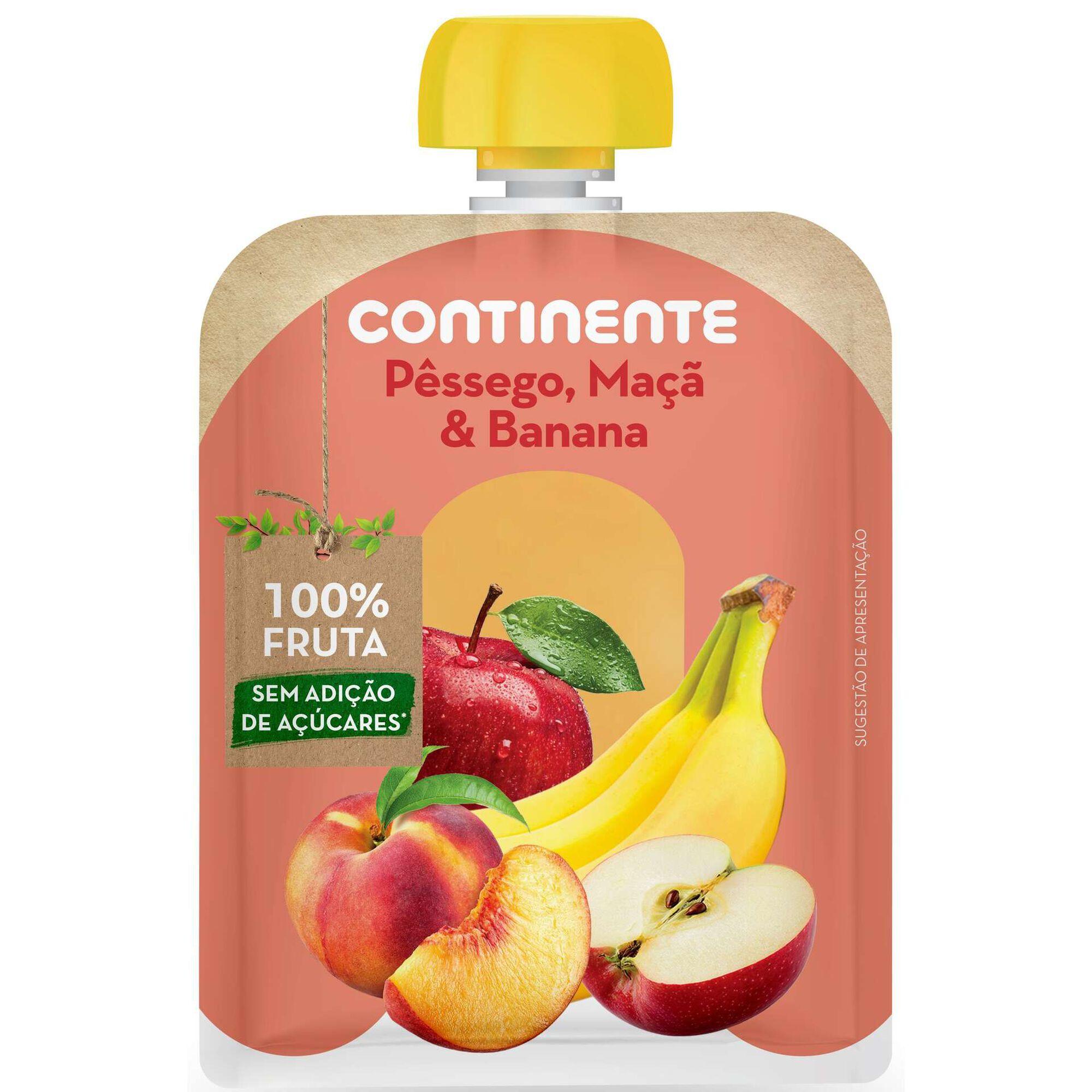 Saqueta de Fruta Pêssego, Maçã e Banana