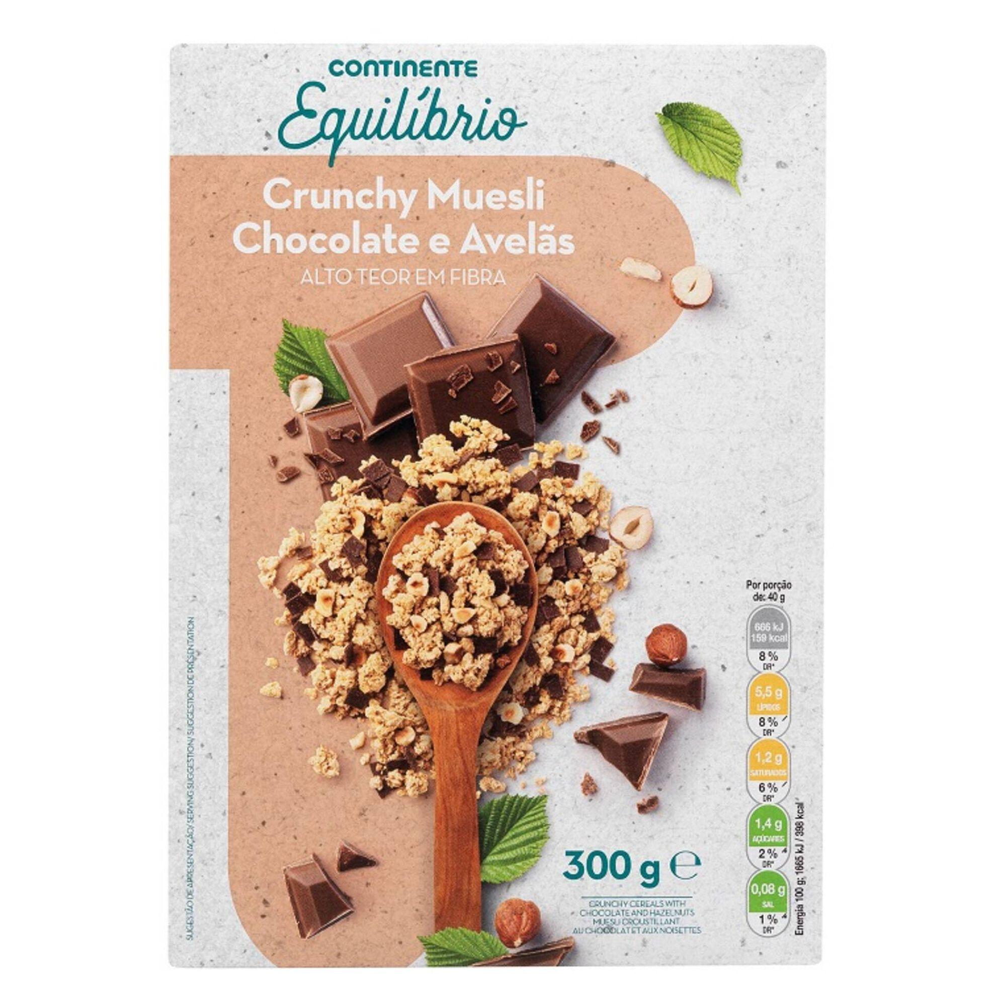 Muesli Crunchy Chocolate e Avelãs com Stevia