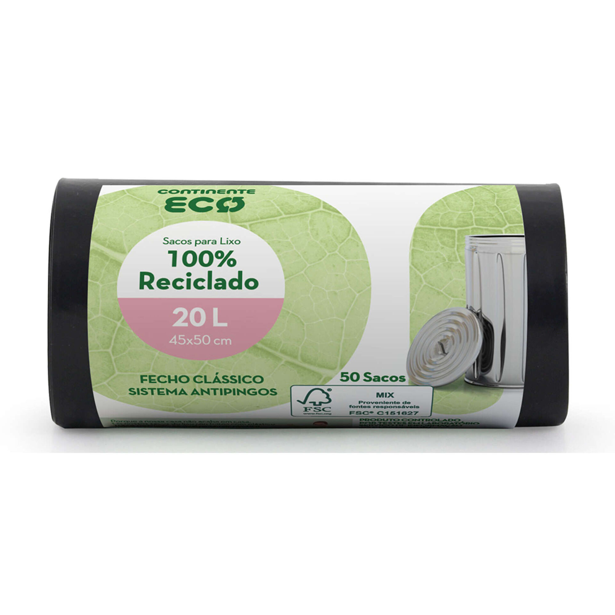 Sacos Lixo 100% Reciclado Fecho Clássico 20 lt