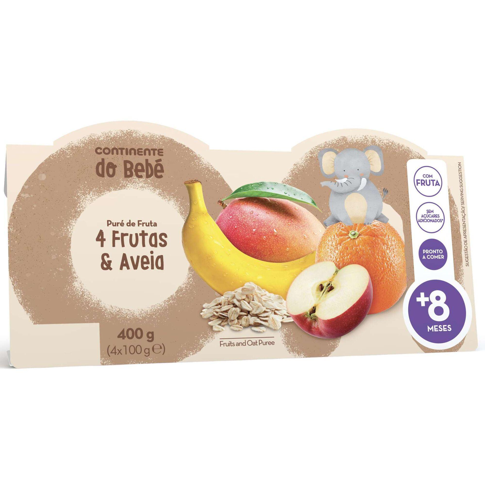 Puré de Fruta 4 Frutas e Aveia +8 Meses