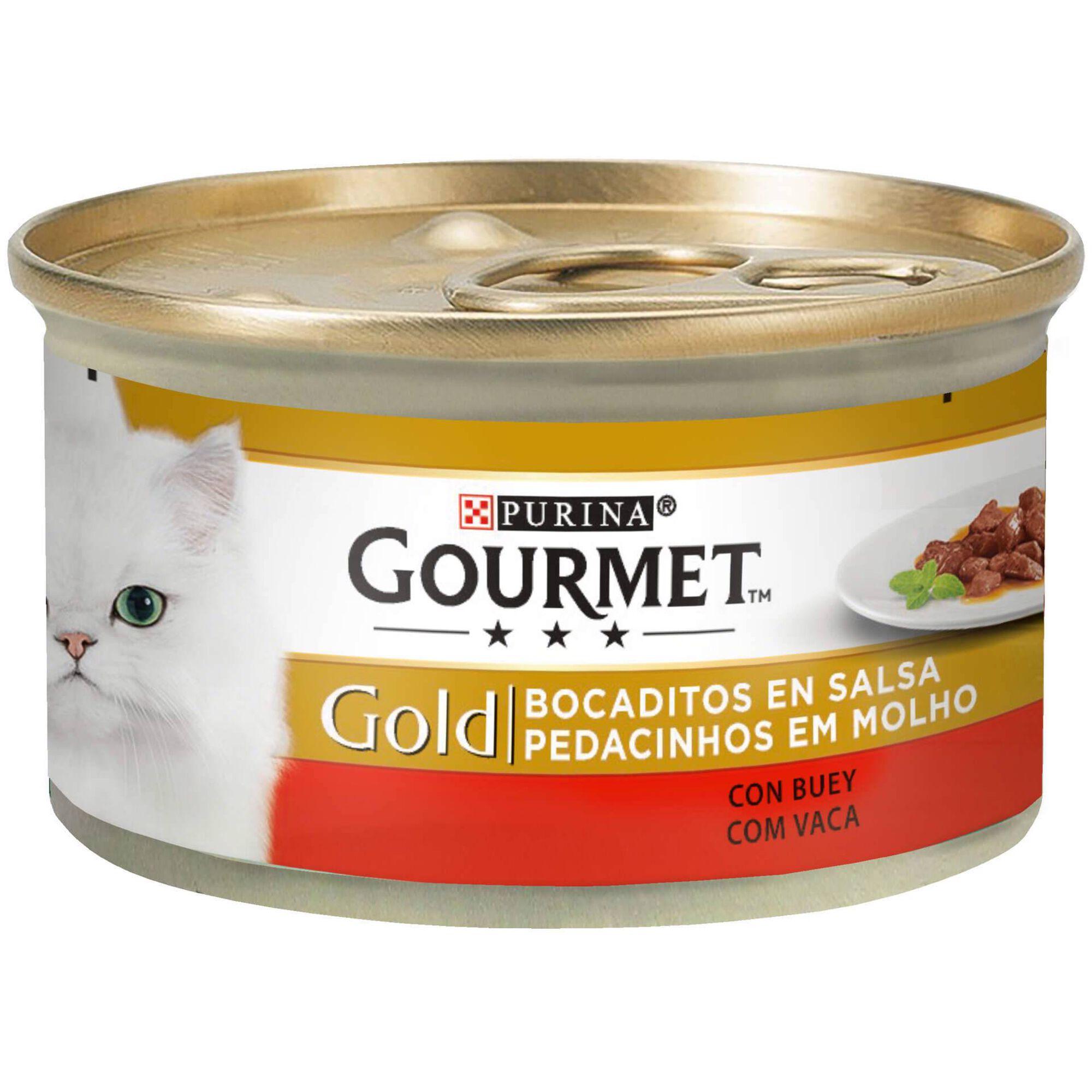 Comida Húmida para Gato Gold Pedacinhos em Molho Vaca