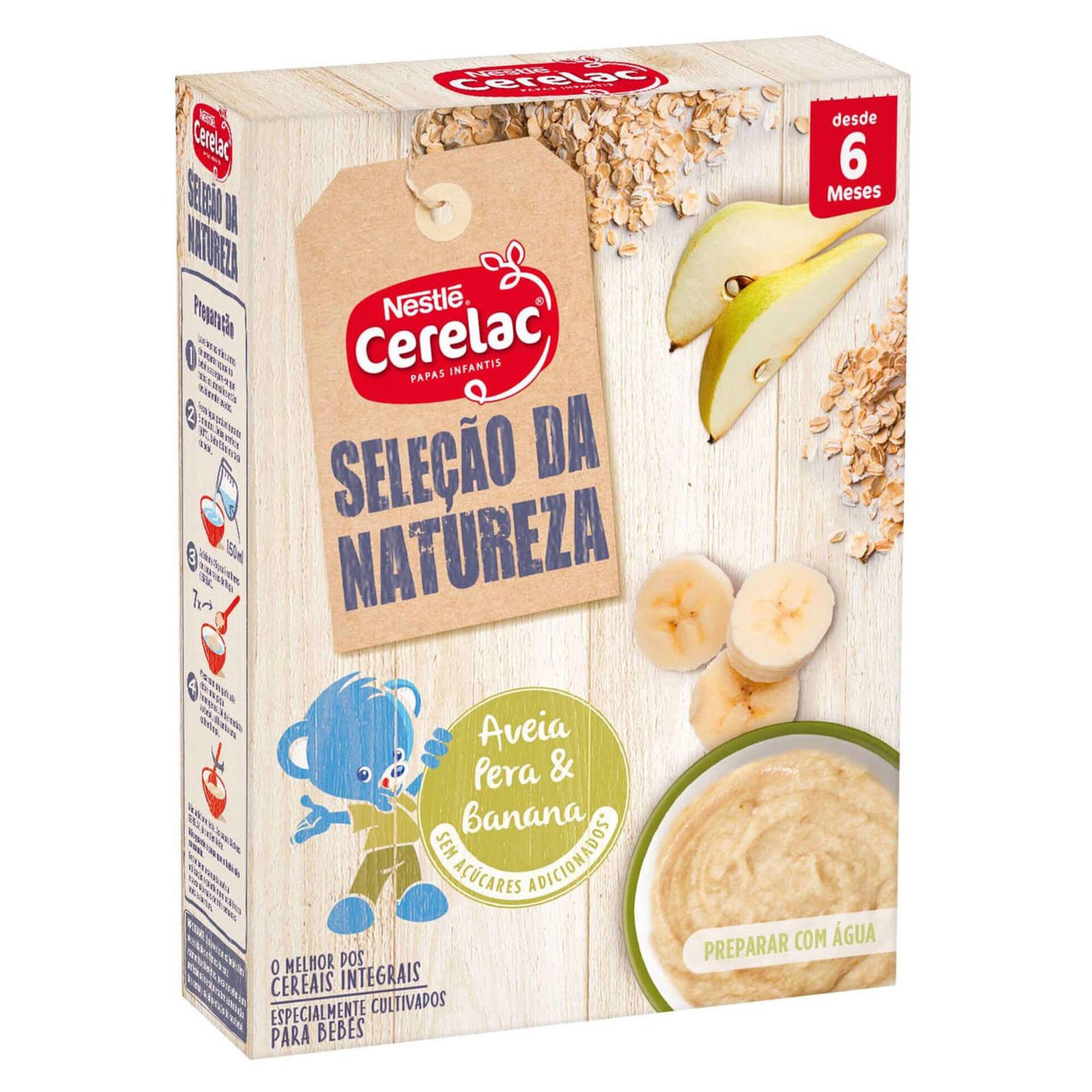 Papa Infantil Láctea Aveia, Pera e Banana Seleção da Natureza +6 Meses