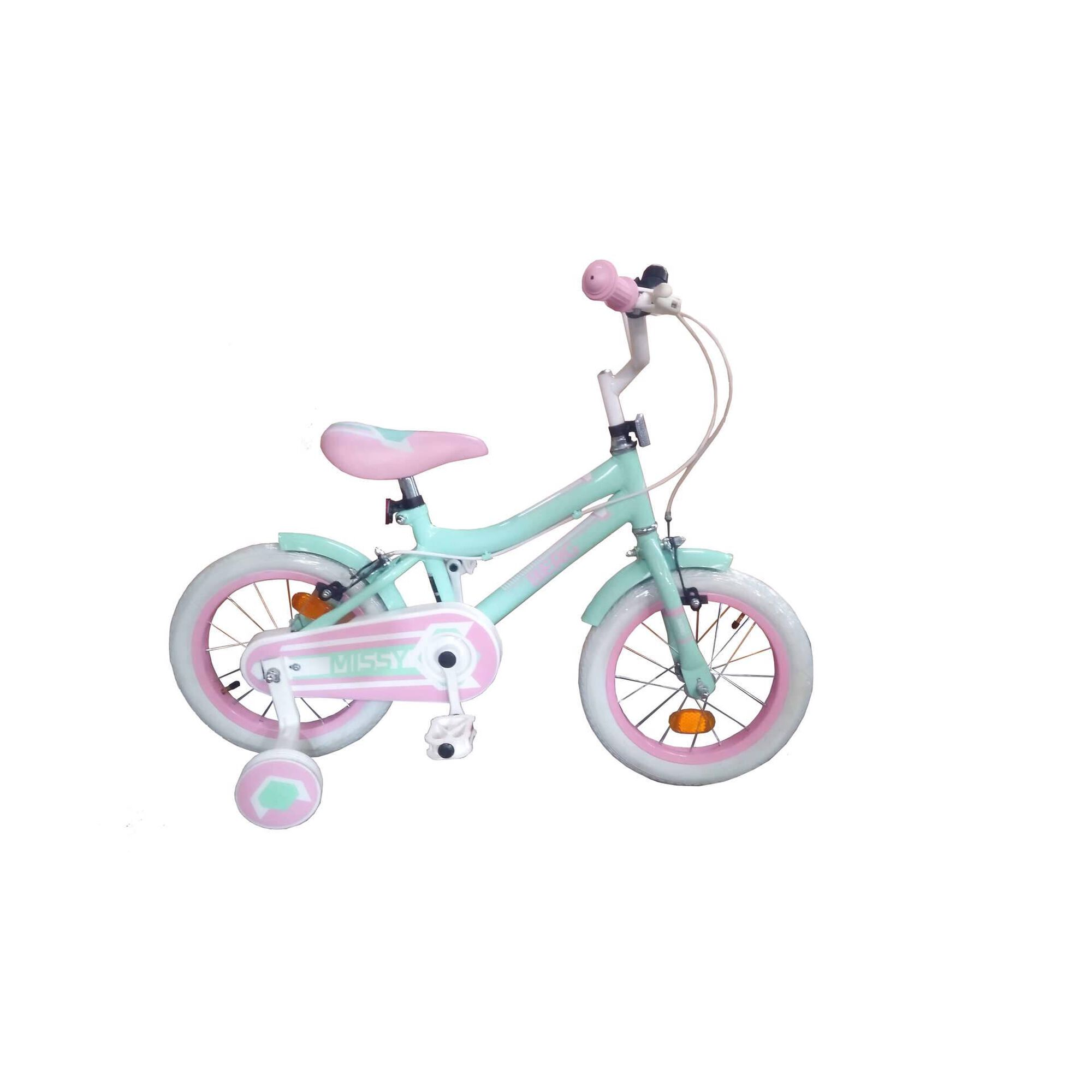 """Bicicleta Criança Roda 14"""" 4-6 Anos Azul e Rosa"""