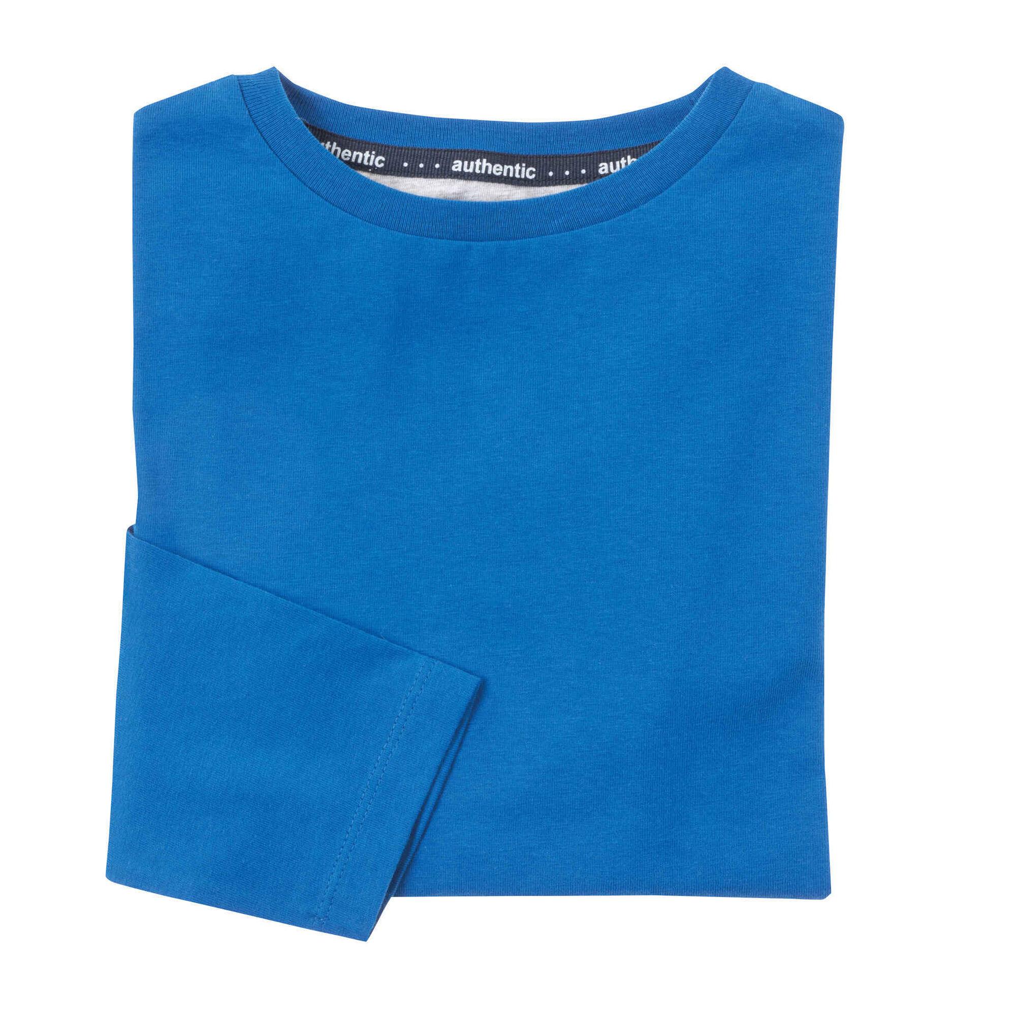 T-shirt Manga Comprida Algodão Azul