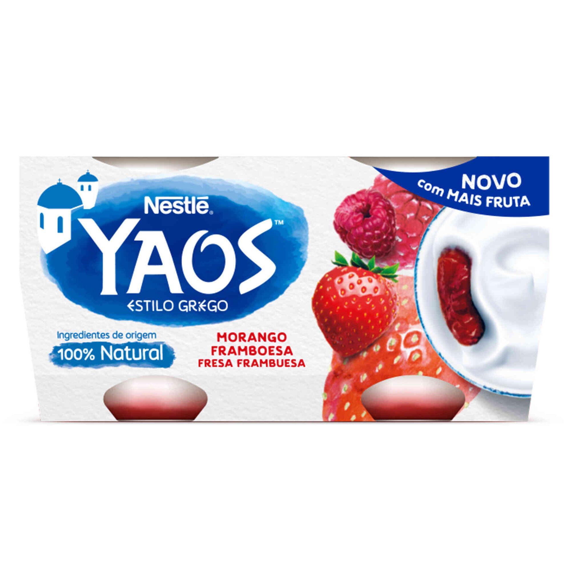 Iogurte Grego Yaos Morango  e Framboesa