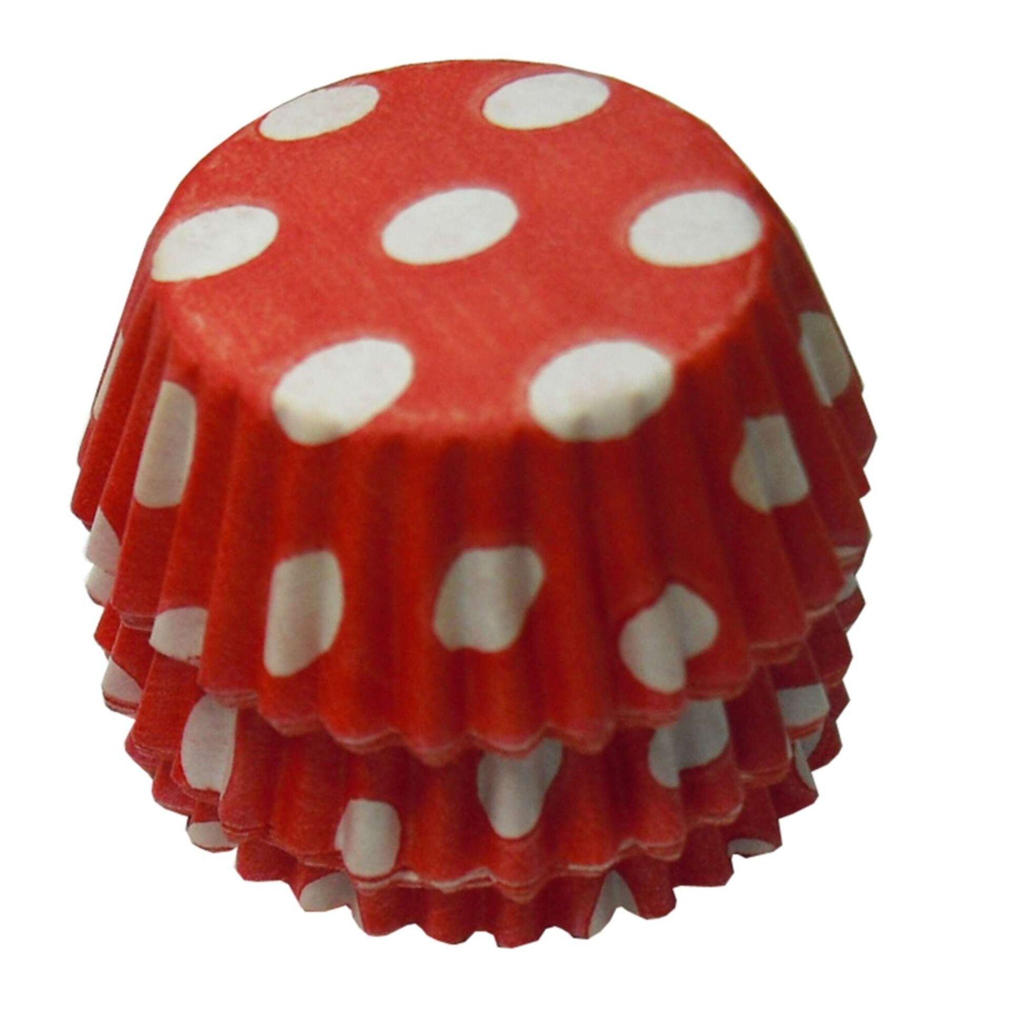 Formas Papel Frisado Pequenas Vermelhas às Bolinhas