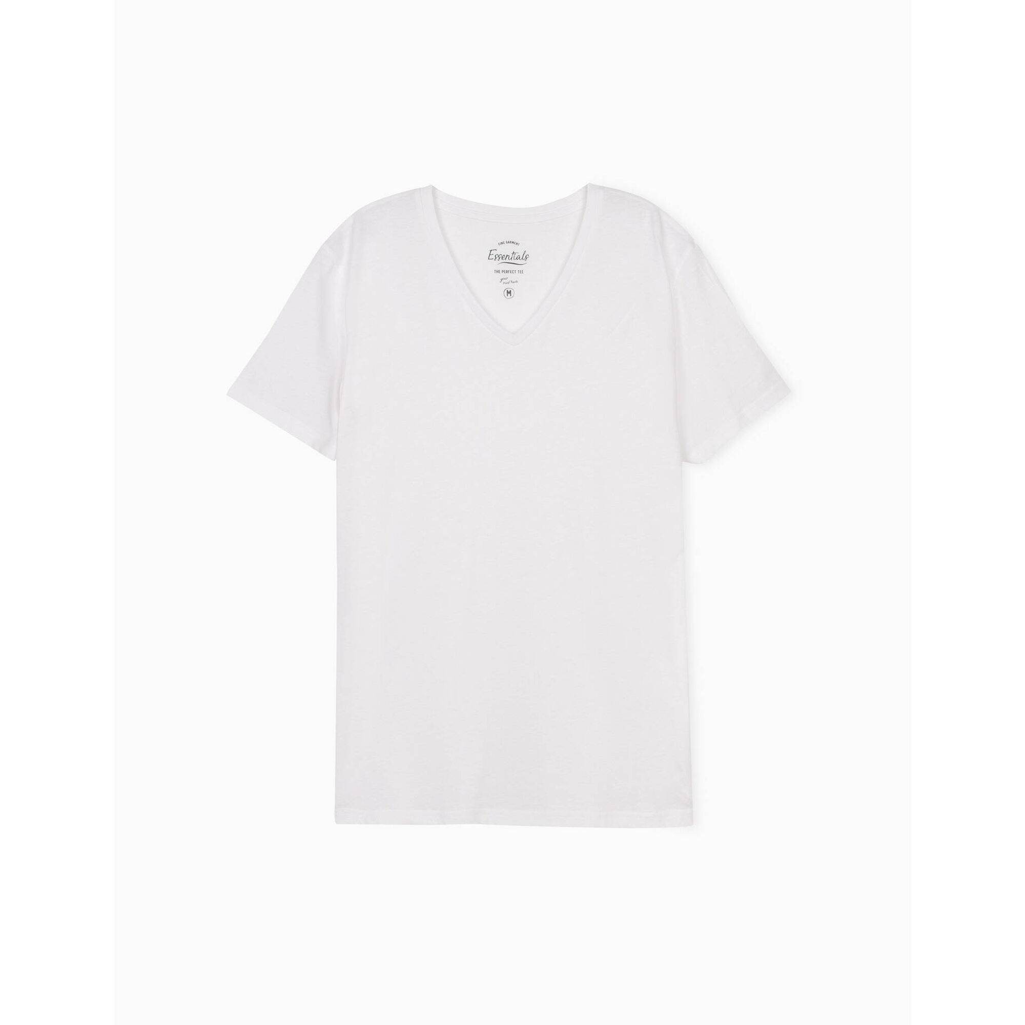 T-shirt Algodão com Decote em V Branco