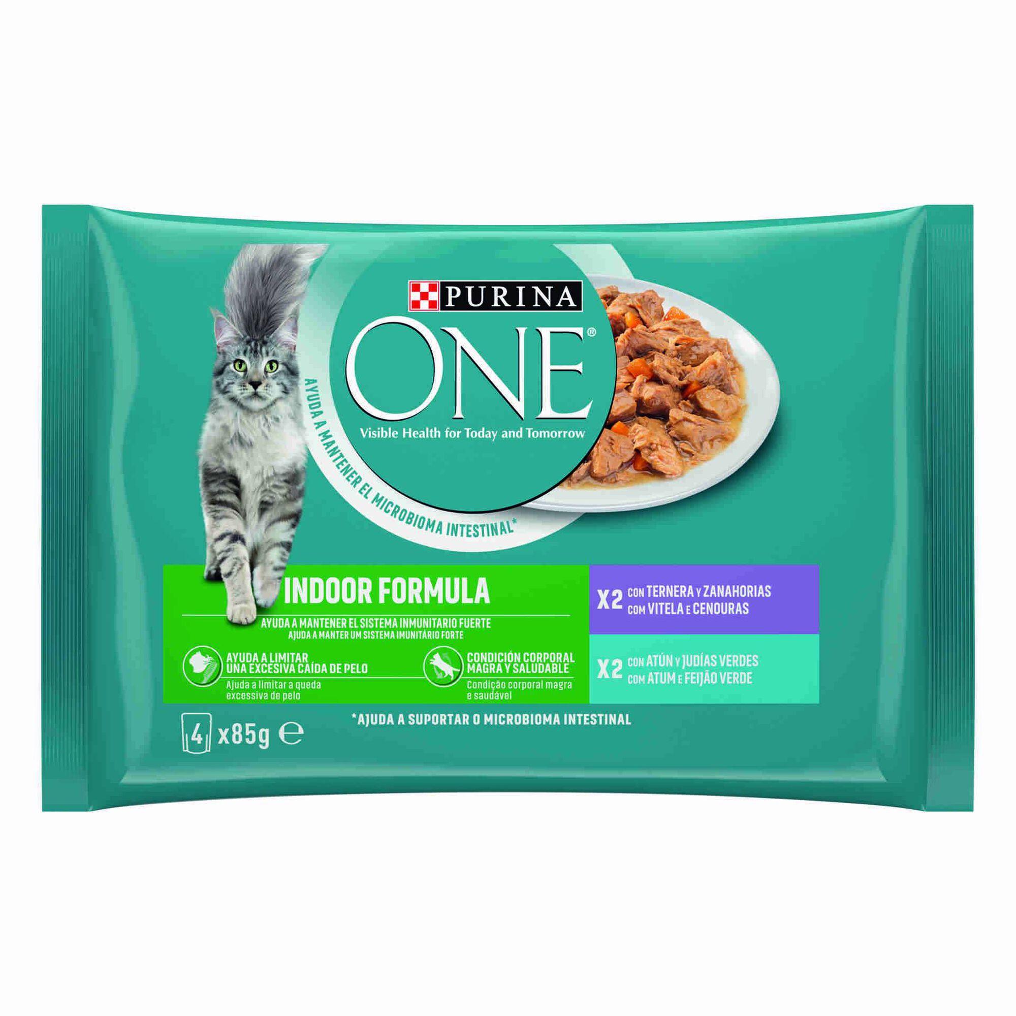 Comida Húmida para Gato Adulto Indoor Atum e Vitela Saquetas