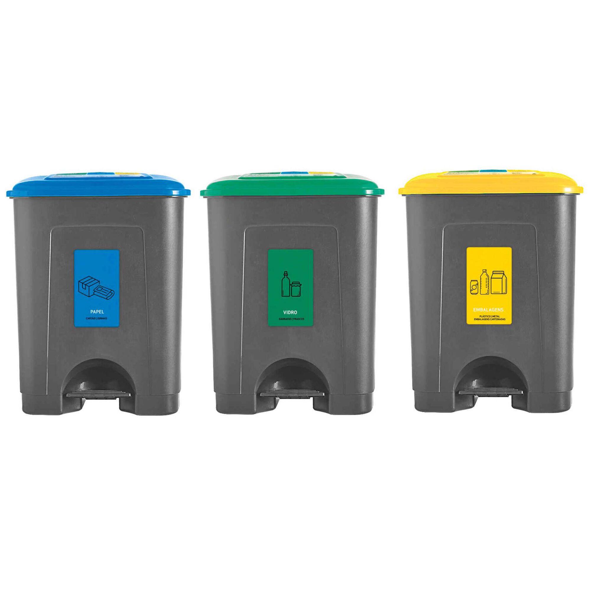 Conjunto 3 Baldes Reciclagem Plástico 3x35L Cinza