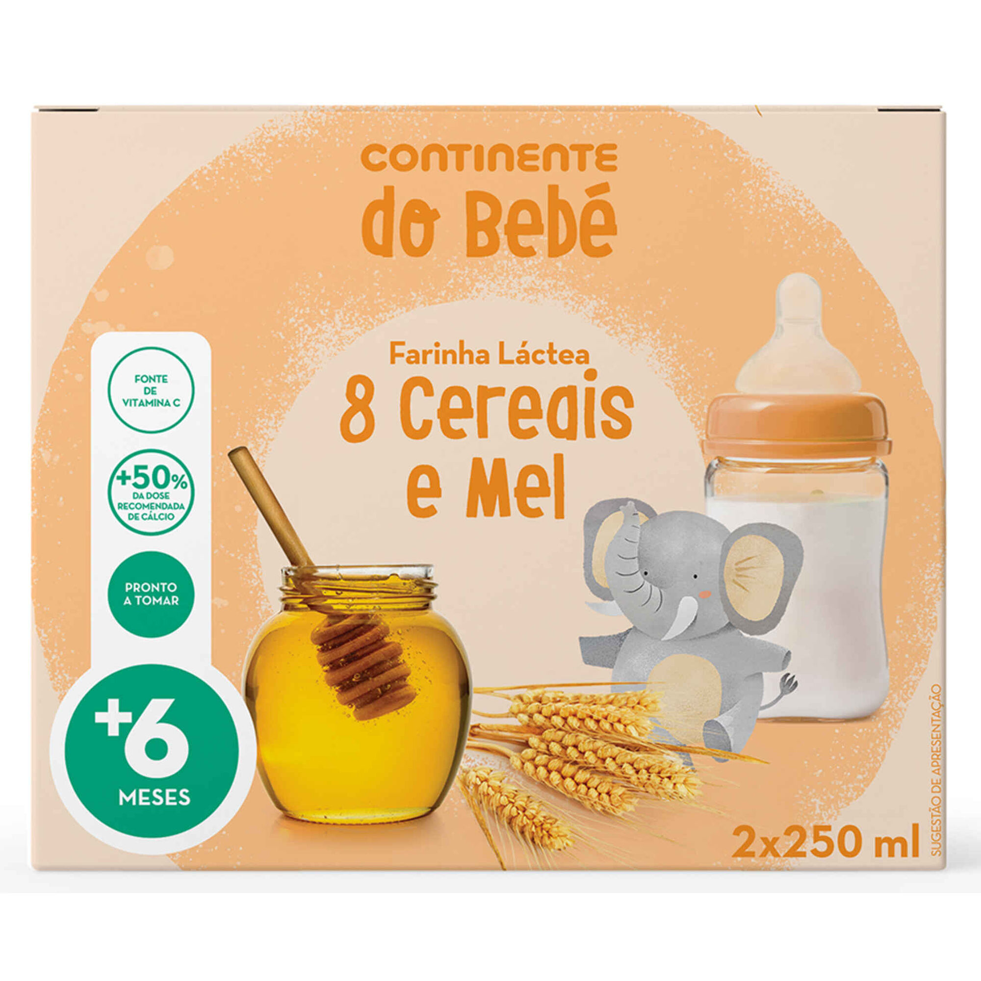 Papa Infantil Farinha Láctea 8 Cereais e Mel +6 Meses