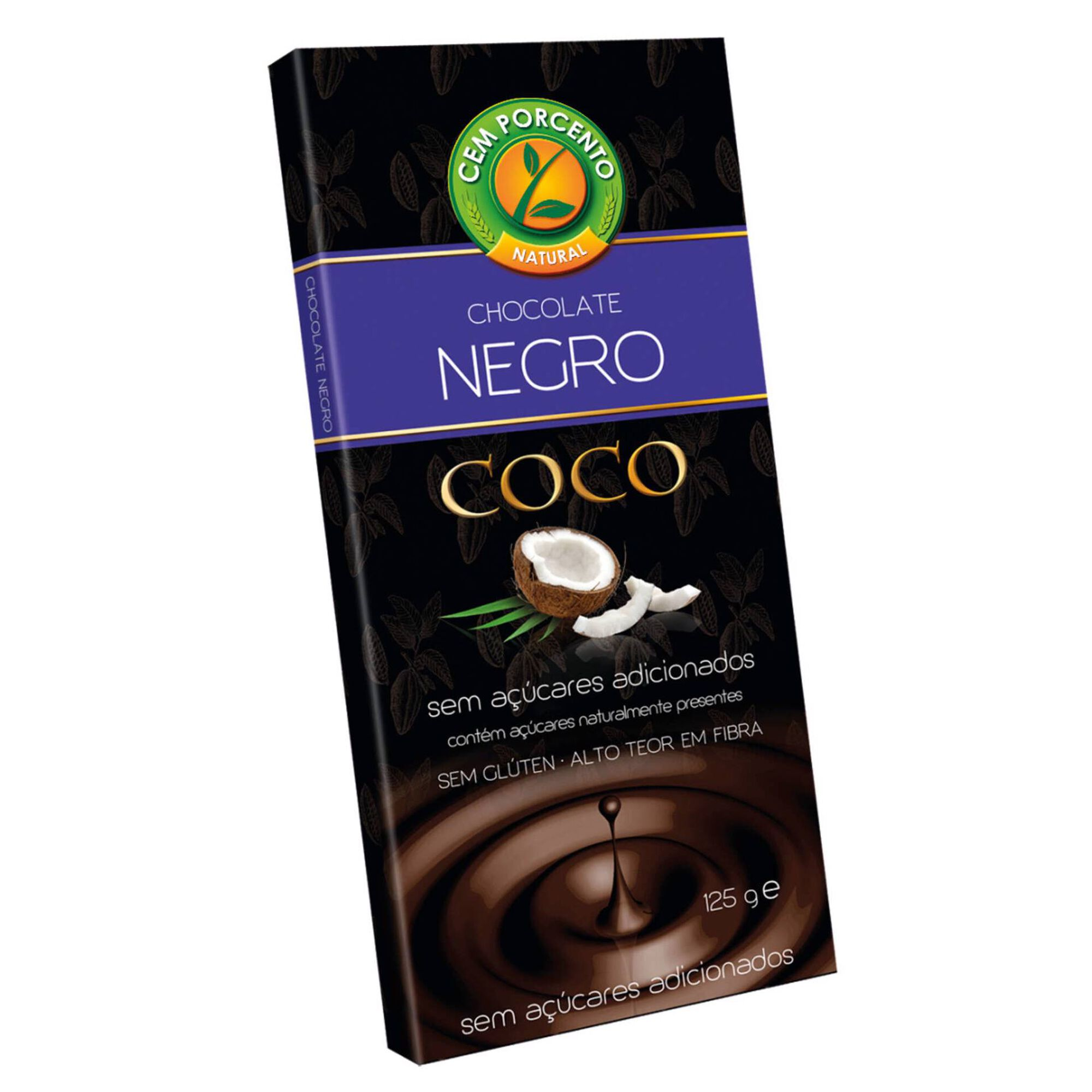 Tablete de Chocolate Negro com Coco sem Açúcar e sem Glúten