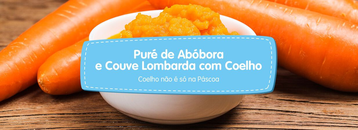 Puré de Abóbora e Couve Lombarda com Coelho