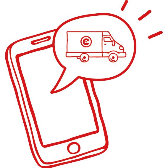 Ícone SMS de aviso de entrega