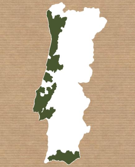 Mapa de áreas de entrega de cabazes de fruta e legumes